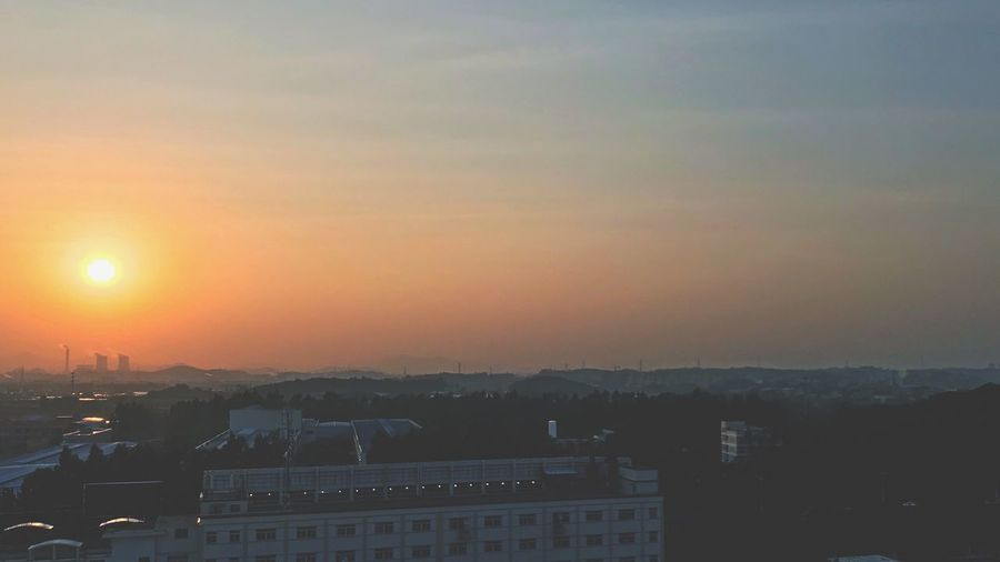 sun today Architecture Building Exterior Built Structure Sunset No People Sky City Sun Nature Day EyeEm Ready