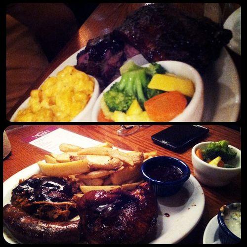 Dinner is served! GoodWoodSteakhouse Pulledpork GrilledChicken BeefRibsFlinstoneSize VeggiesNmac MeatLovers MeatOverload DiscRedIts HolyHeckImFull