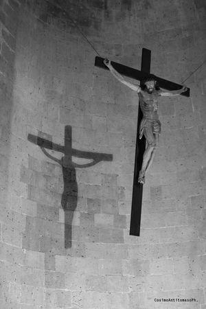 Crocifisso della Cattedrale di Casertavecchia Air Vehicle Architecture Belief Cross Crucifix Day Human Representation Low Angle View Male Likeness No People Place Of Worship Religion Religious Equipment Representation Spirituality Statue Symbol