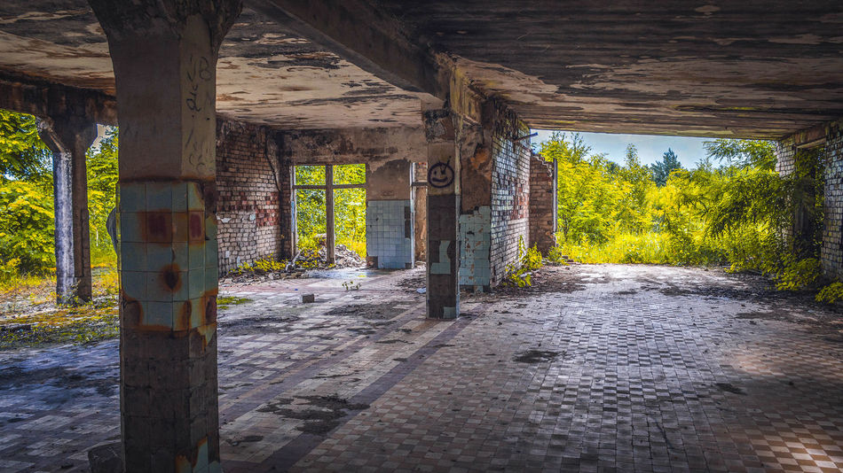 Abandoned Architecture Built Structure Colorful Forest Green Color House In Forest Indoors  Landscape Nature Nature Open Open Area Raketine Baze War Zone Wood - Material
