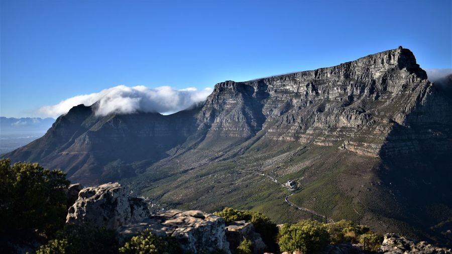 Scenic view of table mountain against sky in a wonderful sunrise