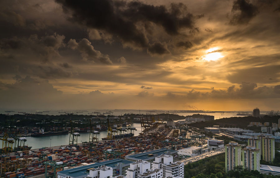 Architecture City Cityscape Cloud - Sky Day For Love Of Photography Happy No People Orange Color Outdoors Sea Serenity Singapore EyeEm Facebook Sky Skyscraper Sun Glow Sunset Urban Skyline View From Pinnacle@Duxton Water Yacht Yachting