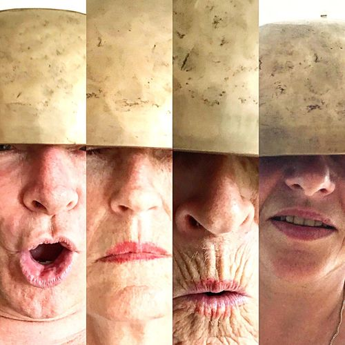 4helmet faces ⛔️ Clicflic Multi Age Laughing Mood Experimental Crazy Bowl On Head Bowl 4 People Composite Helmet Faces Of EyeEm Faces Digital Composite Body Part One Person Multiple Image Portrait Composite Image Headshot Human Face Real People Auto Post Production Filter Adult Close-up Variation