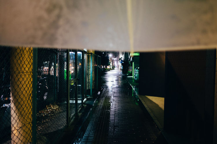 Illuminated walkway in water
