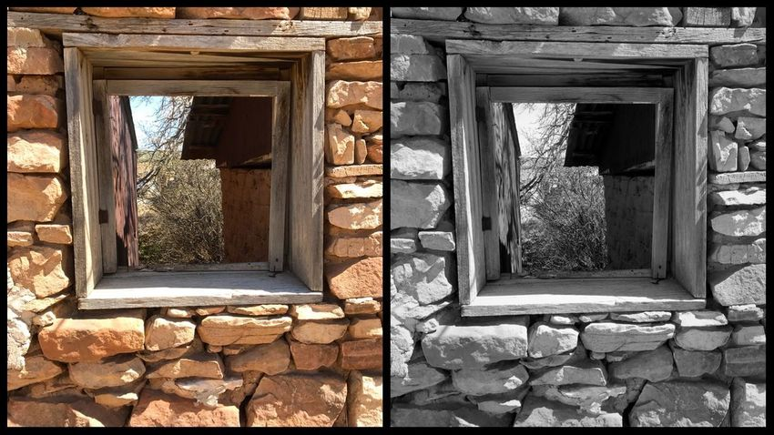 """""""A Different View"""" Color and Black and White contrast of the same window in an old stone building in the Village of Corona, New Mexico. New Mexico Photography New Mexico Color Black And White Stone Wall Stone Architecture Built Structure Window Building Day Building Exterior No People House Old Weathered Abandoned Wall - Building Feature"""
