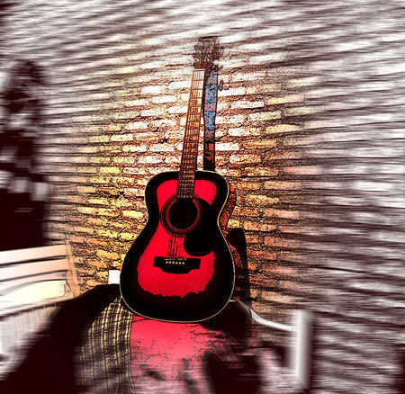 Red Color Redguitar Blck And White Red White My Guitar Graphic Guitar In Door Light And Shadow Blackground Red Brown Wall Brick Block One Person Close-up