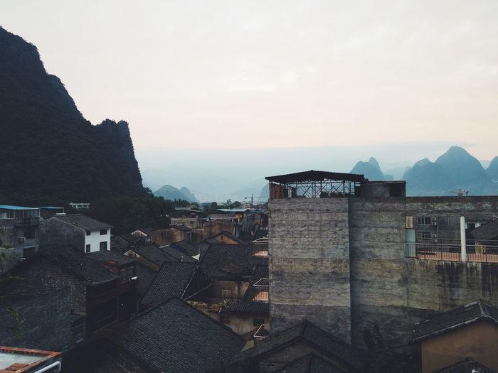 The view of xingping sunrise from the hostel Relaxing Xingping Yangshuo China Sunrise