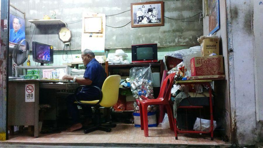 Man working at shop