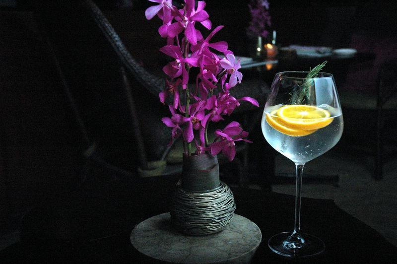 Freshness Glass Flower Drink Food And Drink Refreshment Flowering Plant No People Plant Close-up Table Indoors  Alcohol Household Equipment Food Drinking Glass Still Life Nature Wineglass Focus On Foreground Cocktail Cocktails Gin And Tonic Orange Eyeem Philippines Eyeem Philippines Album