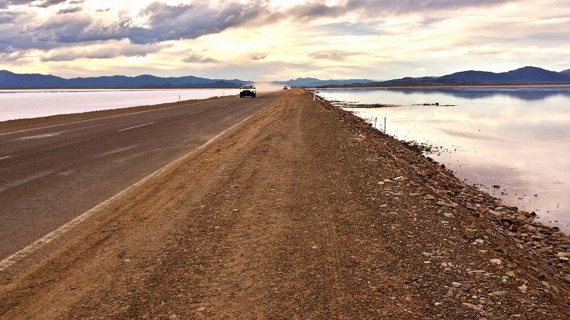 Highway Las Salinas Salt Field Evening Sky RePicture Travel The Great Outdoors - 2015 EyeEm Awards