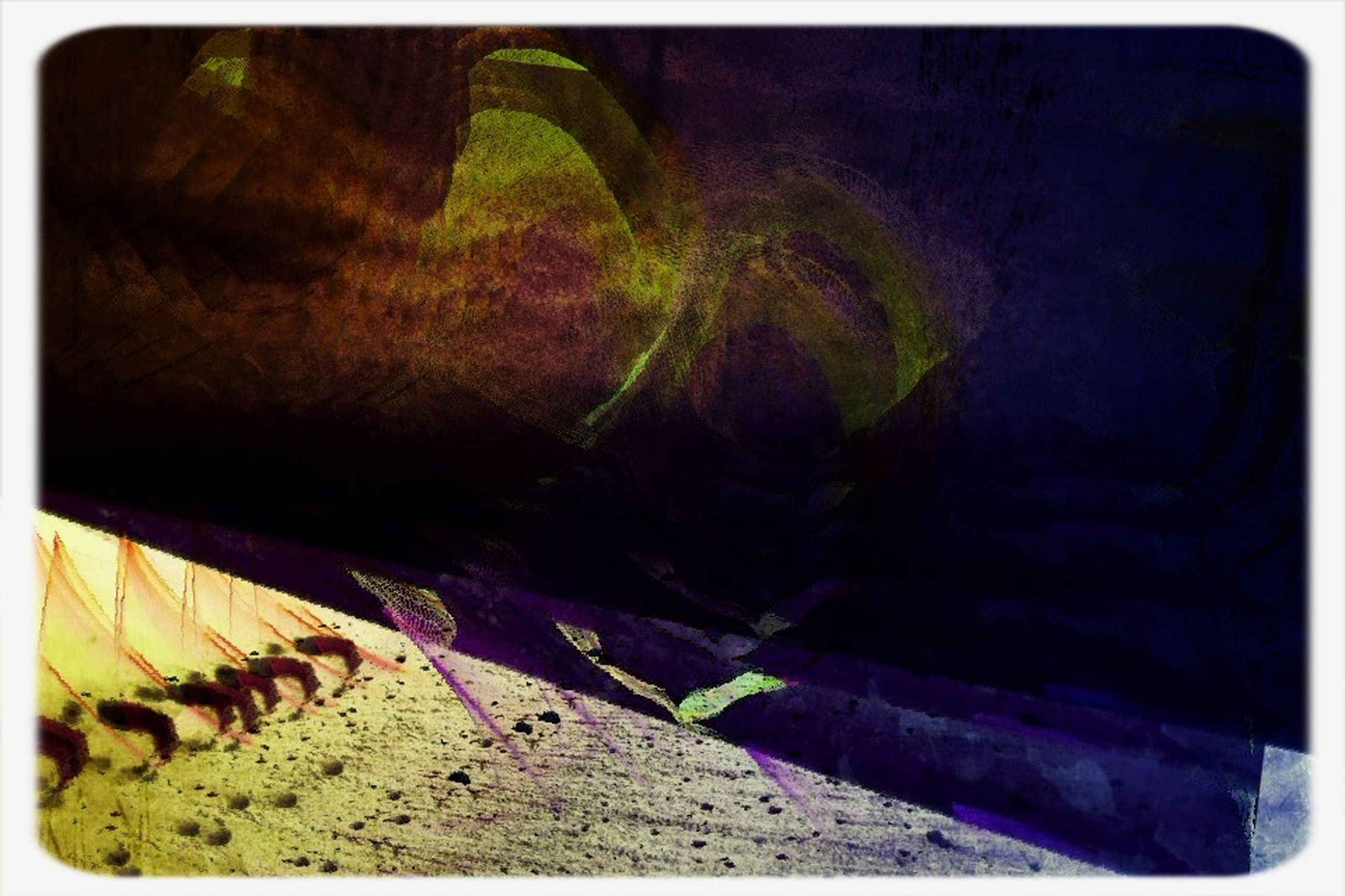 transfer print, auto post production filter, day, outdoors, rock - object, nature, sunlight, plant, shadow, no people, growth, tree, wall - building feature, tranquility, panoramic, sand, textured, rock formation, high angle view, steps