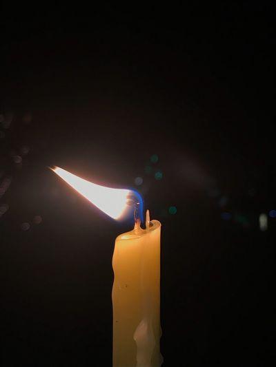 Flame Candle Burning Heat - Temperature Illuminated Glowing Celebration No People Studio Shot Birthday Indoors  Black Background Close-up