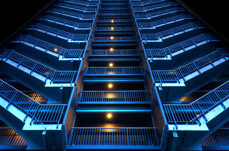 Low angle view of staircase at night