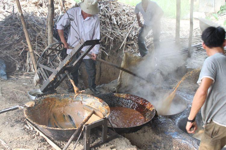 Men Preparing Food Outdoors
