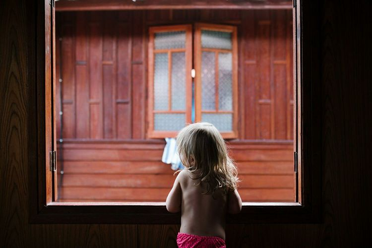 Rear View Of Young Girl Looking Through Window