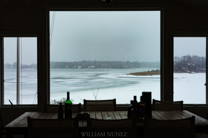 Winter in South Hampton Landscape Snow Winter Window Sea Table Indoors  Water Scenics Nature Beauty In Nature