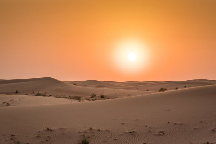 Arid Climate Beauty In Nature Day Desert Extreme Terrain Landscape Nature No People Outdoors Physical Geography Sand Sand Dune Scenics Sky Sun Sunlight Sunset Tranquil Scene Tranquility