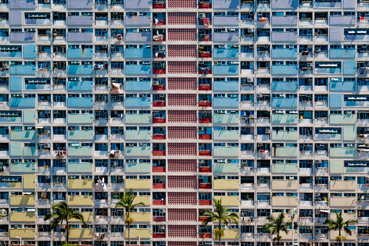 Full frame shot of colorful apartment building