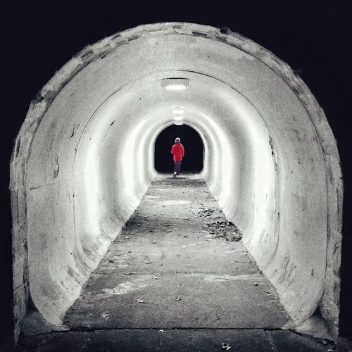 Boy Red Architecture Arch Direction Tunnel The Way Forward Built Structure Circle