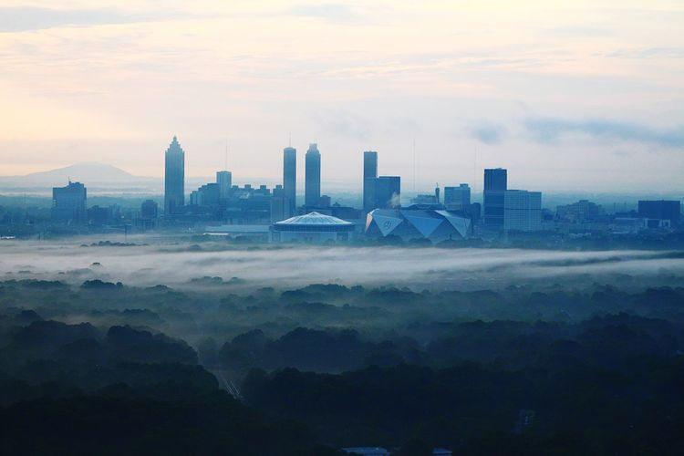 Atlanta's morning mist Architecture Cityscape Skyscraper City Building Exterior Modern Built Structure Sky Urban Skyline Cloud - Sky Travel Destinations ATL Aerial View Aerialview Aviationphotography Aviation Photography Atlanta, Georgia Downtown Growth Day Downtown District Modern City Cityscape Architecture