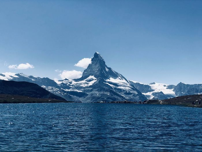 Matterhorn Mountain with 1 of the 5 lakes in one Mountain Water Sky Scenics - Nature Nature Snow Beauty In Nature Blue