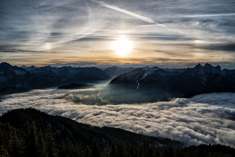 Sunset above the fog in the valley Scenics - Nature Beauty In Nature Sky Cloud - Sky Tranquility Mountain Tranquil Scene Sunset Nature Idyllic No People Environment Non-urban Scene Mountain Range Water Majestic Landscape Sun Outdoors Snowcapped Mountain Fog Autumn Winter Alps Austria Tyrol