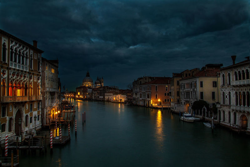 A view from Accademia Bridge, Venice Accademia Architecture Bridge - Man Made Structure City City Street Cityscape Cloud - Sky Dusk History Illuminated Landscape Night Nightlife No People Outdoors Sky Street Travel Travel Destinations Venice, Italy Water Fresh On Market 2016