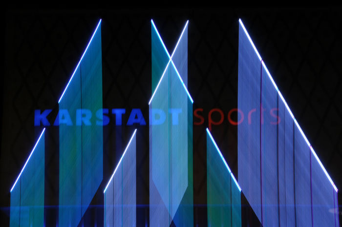 Motion blurred neon lights of Karstadt Sports in West Berlin ©alexander h. schulz Berlin Charlottenburg  Karstadt Sports Letters Night Lights Nightphotography Abstract Black Blue Blur Blurred Motion Close-up Color Famous Place Iconic Illuminated Karstadt Lettering Motion Zoom Neon Neon Lights Night No People Outdoors West Berlin