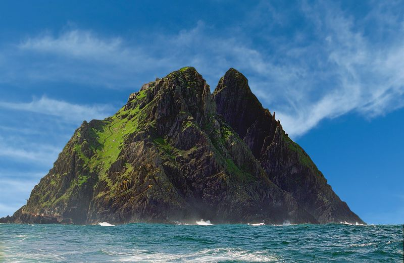 Scenic View Of Skellig Michael And Sea Against Sky