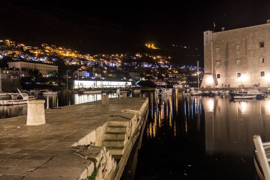 Dubrovnik, Croatia Nightphotography Harbour Seaside Ship
