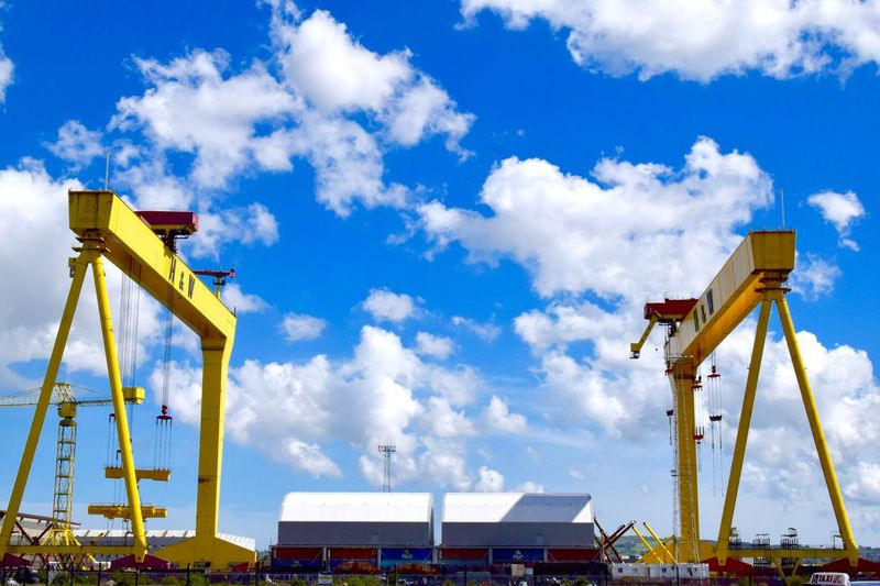 Harland & Wolff Y Landmark Docks Dock Clouds And Sky EyeEm Contrast EyeEm Selects Eye4photography  EyeEm Best Shots Clouds Sky Harland&Wolff Northern Ireland Belfast Sky Cloud - Sky Machinery Low Angle View Crane - Construction Machinery Industry Built Structure Nature