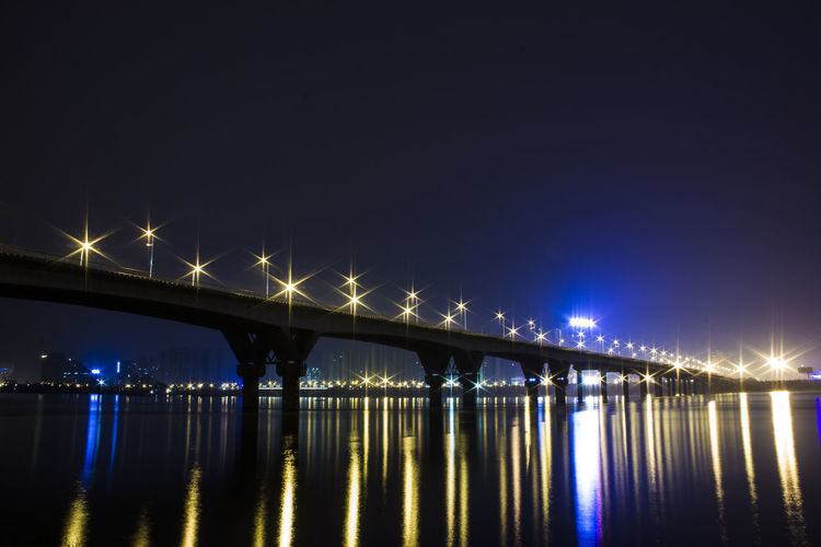 Bridge - Man Made Structure Sky Night Reflection Water City Connection River No People Outdoors Architecture Nature Low Angle View