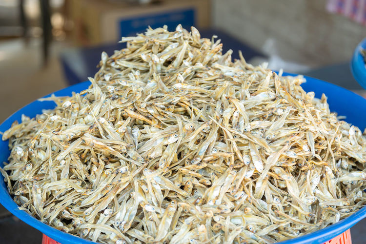 High angle view of dried for sale in market
