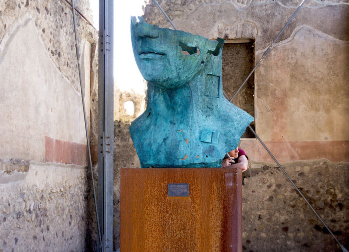 old meets young... Antique Architecture Blue Built Structure Close-up Dialogue Funny HEAD Heads Italy Old Patina Pompeii  Sculpture Smartphone Talking Tourism Travel Vacances
