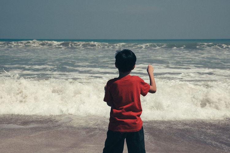 Rear View Of Boy On Beach Against Sky