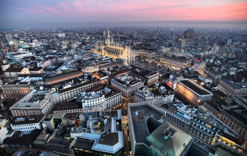 Aerial view of Milan (ph andrea cherchi) Duomo Di Milano Building Exterior Architecture Cityscape Built Structure Travel Destinations High Angle View Building Milan Milano