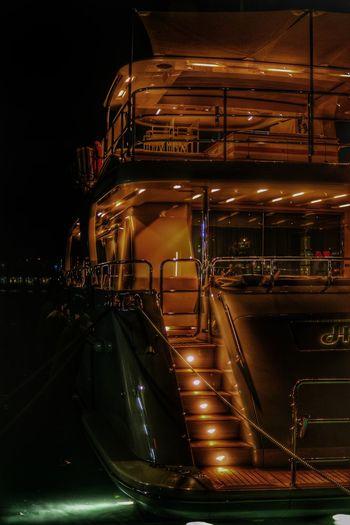 Night Illuminated Outdoors Yacht Harbur