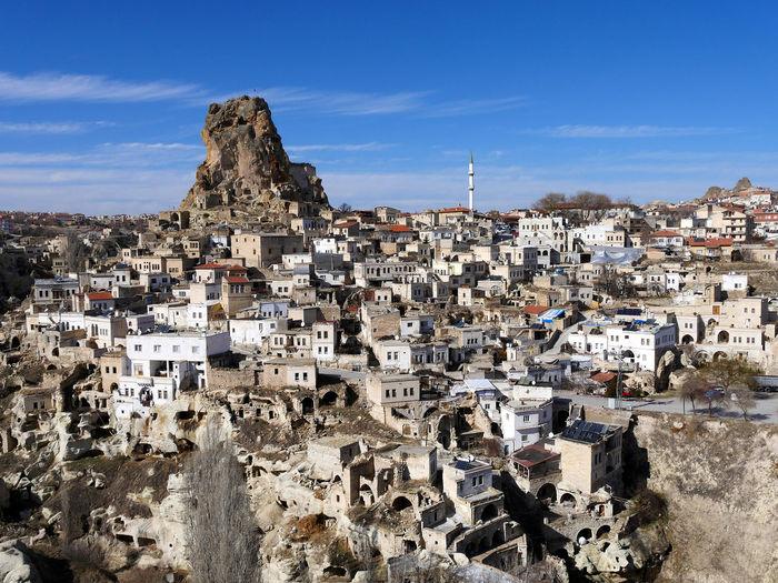 Cappadocia village against sky