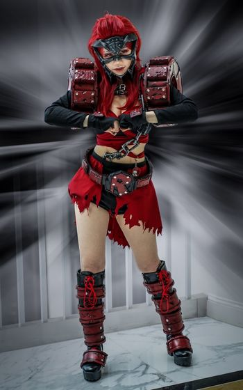 Katsucon 2019 Cosplaygirl Cosplayer Katsucon 2019 Cosplay Katsucon One Person Full Length Red Front View Indoors  Real People Standing Clothing Costume Portrait Arts Culture And Entertainment Obscured Face Representation Lifestyles Helmet