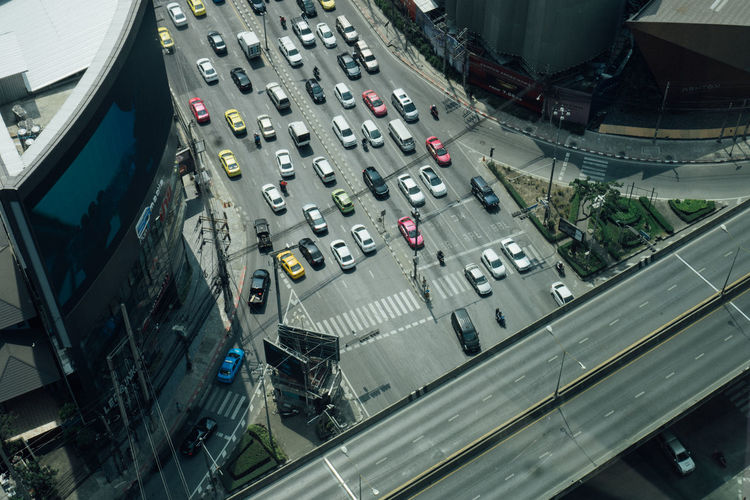 Transportation High Angle View Mode Of Transportation Road Car City Motor Vehicle Architecture Land Vehicle Street Day Traffic Building Exterior Aerial View No People Road Marking Built Structure Outdoors Sign Multiple Lane Highway