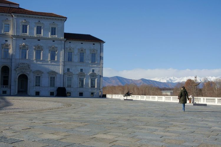 The mountains are my horizon Royal Palace Venaria Reale Italy Blue Sky Historical Place Walking Around Mountains In Background Colour Your Horizn Architecture Sky Outdoors Day Mountain People Clear Sky Building Exterior Stories From The City
