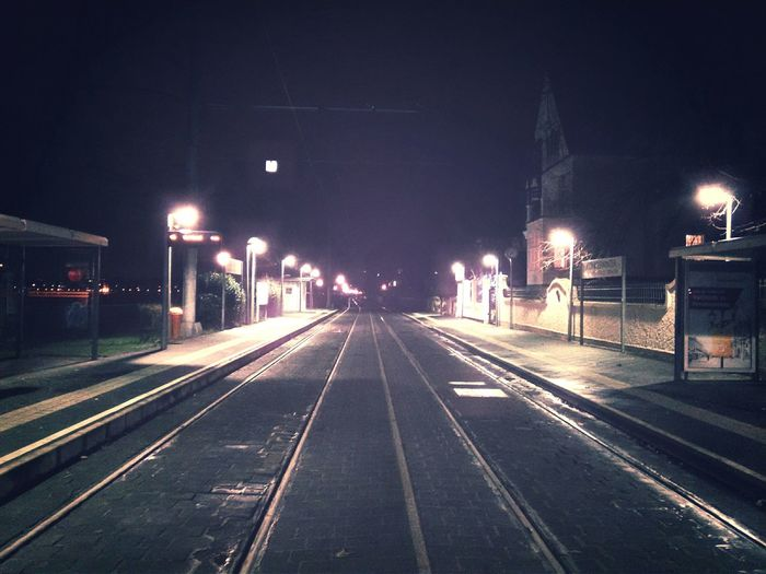 Train Station Waiting For A Train Cold Days Germany Boring Night, by Königswinter