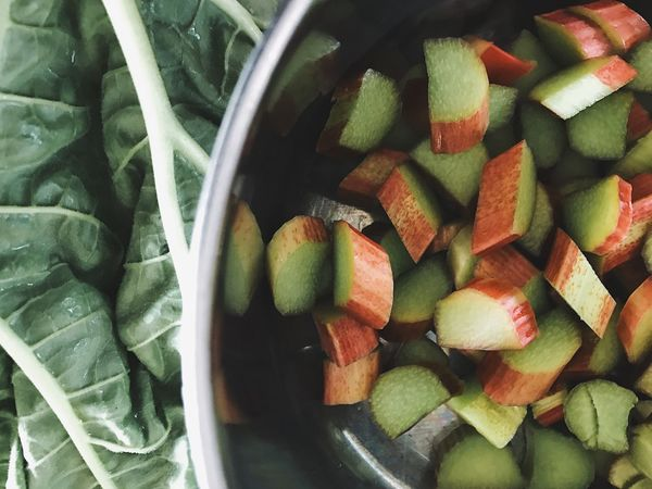 Freshness Healthy Eating Food And Drink Green Color Food Indoors  Fruit No People Close-up Day Rhubarb Cooking Vegetable Rhubarb Leaves Chopped Rhubarb Stalk Harvest Time Garden Kitchen Life Kitchen Recipe Recipes Ingredient Ingredients No Person