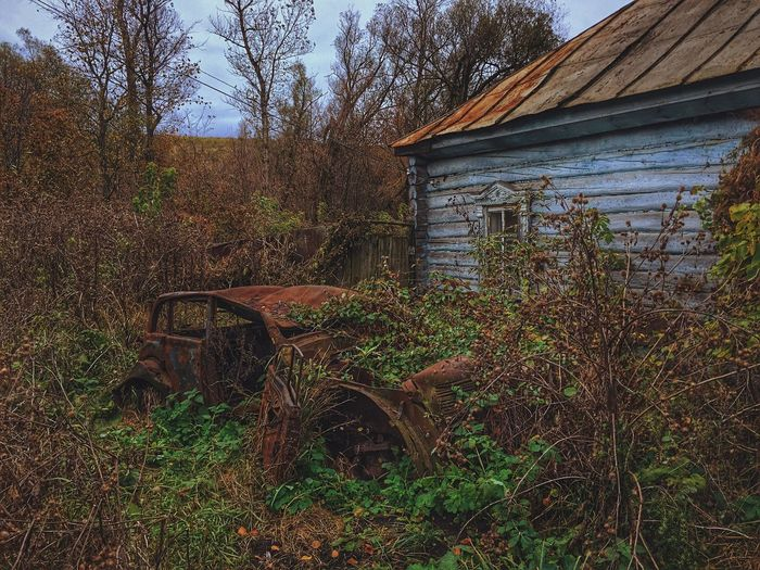 Built Structure Abandoned Architecture Building Exterior Tree Nature No People Damaged Obsolete Outdoors Day Field Grass Village Russia Россия Country House Abandoned Places Village View деревня Village Life Village Photography липецкаяобласть Время Time