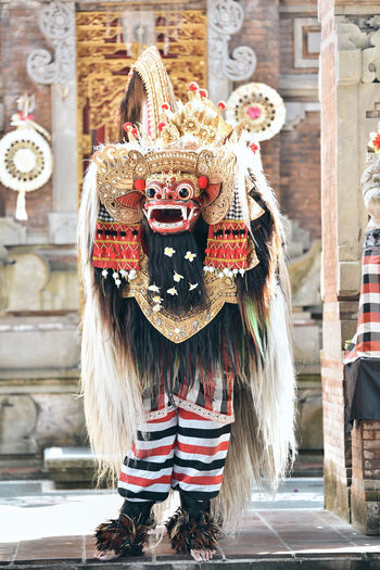 Group traditional dancer with costume of balinese spirit barong at culture event in gwk bali