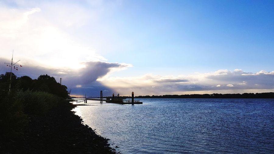 Sunrise Elbe Water Nautical Vessel Sea Sky Cloud - Sky Atmospheric Mood Forked Lightning Cumulus Moody Sky Atmosphere Cloudscape Silhouette Romantic Sky