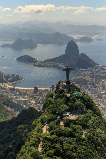 Aerial view of christ the redeemer statue on mountain