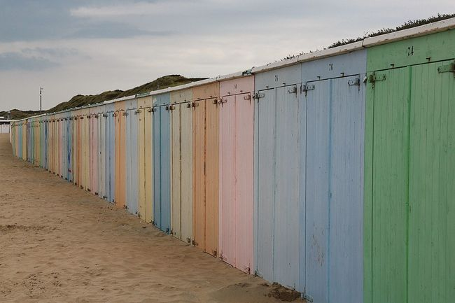Closed In A Row No People Multi Colored Long Building Exterior Built Structure Beach Life Beachphotography Beachside Beachlife Holland Ist Die Geilste Stadt Der Welt Holland Domburg  Weathered