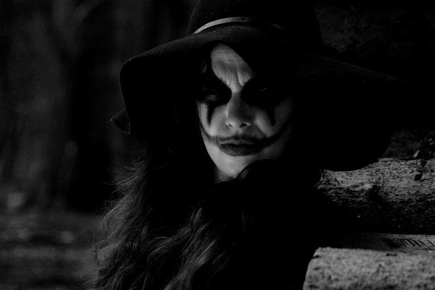 Dangerous Beings Lost In The Woods Deep Dark Woods.... Blackandwhite Monochrome Spooky Scary Scary Face Chelseagrin Dark Portrait Deep Dark Woods The Joker Joker Smile Madness Insanity Darkness And Light Mean Look Jokerface Creepy Spooky Atmosphere Deep In The Woods Halloween Makeup Halloweenmakeup Mad Girl Boo