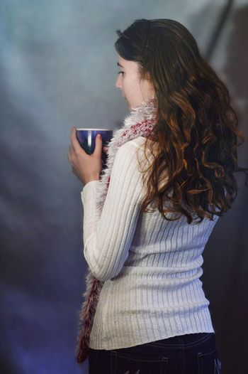 Woman with long curly hair drinking coffee in a Christmas mug ⛄️ Indoors  Young Women Young Adult Always Be Cozy Standing Holding Waist Up Casual Clothing Long Hair Beautiful Woman Leisure Activity Brunette Fashion White Color Woman Drinking Coffee Drinking Coffee Winter Fashion Woman Portrait Curly Hair Brown Hair Long Hair Wavy Hair Long Curly Hair Christmas Woman Wearing A Scarf
